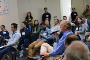 Audience members asked questions following the research presentations.