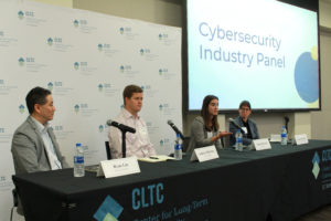 From left to right: Ryan Liu, Principal for Booz Allen Hamilton; Andrew McClure, Principal, ForgePoint Capital; Jenna McGrath, Cyber Economist, CyberCube; Ann Cleaveland, Executive Director, CLTC