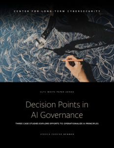 "Cover of CLTC report, ""Decision Points in AI Governance"""